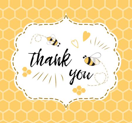 Babypartyeinladungsschablone mit Text danken Ihnen mit Biene, Honig. Niedlicher Kartenentwurf für Mädchenjungen mit Bienen. Vektor-illustration Fahne für Kindergeburtstagsglückwunsch auf Bienenwabenhintergrund