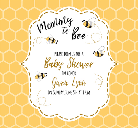 Baby shower invitation template with text Mommy to Bee, honey. Cute card design for girls boys with bees. Vector illustration. Banner for children birthday, congratulation on honeycomb background