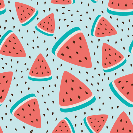 Wallpaper seamless pattern of watermelon slices, summer fresh fruit design.