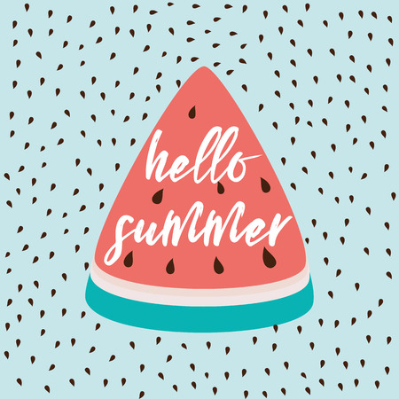 Hello Summer inscription on the background of watermelon on light blue. Ilustrace