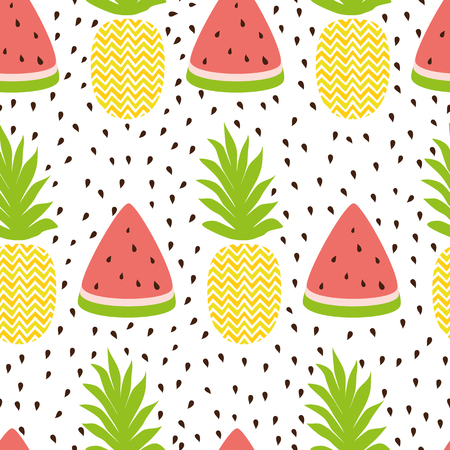 Pineapple watermelon simple vector seamless background in fresh fruit summer colors.