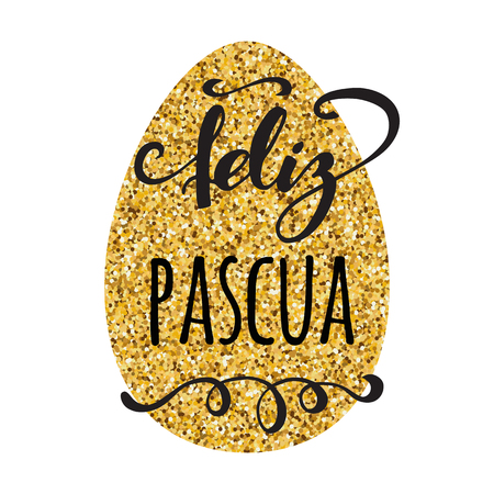 Feliz Pascua Happy Easter in Spanish greeting card on bright golden egg background.