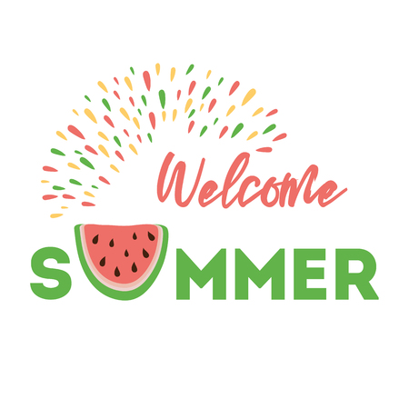 Welcome Summer sign on the background watermelon