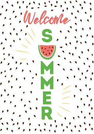 Welcome Summer inscription on the background of watermelon with stones on light blue Stock Photo