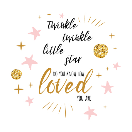 Twinkle twinkle little star text with gold ornament and pink star for girl baby shower card template Çizim