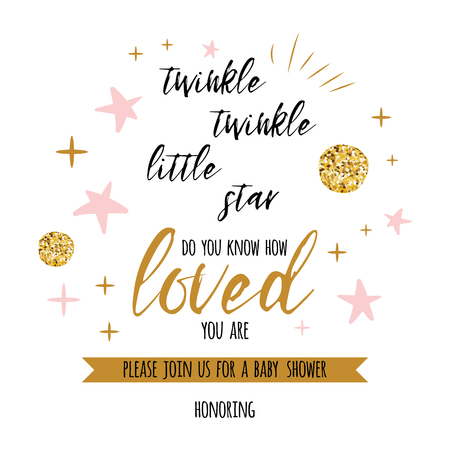 Twinkle twinkle little star text with cute gold, pink colors for girl baby shower card template Vector illustration. Illustration
