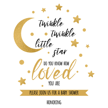 Twinkle twinkle little star text with cute gold star and moon for girl baby shower card template Vector illustration.