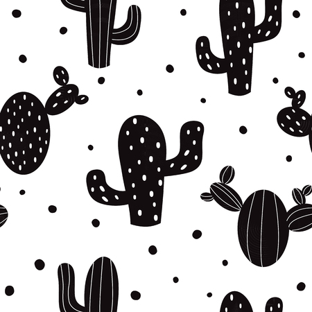 Cactus. Seamless pattern vector background. Vector. Black cactus on white background.