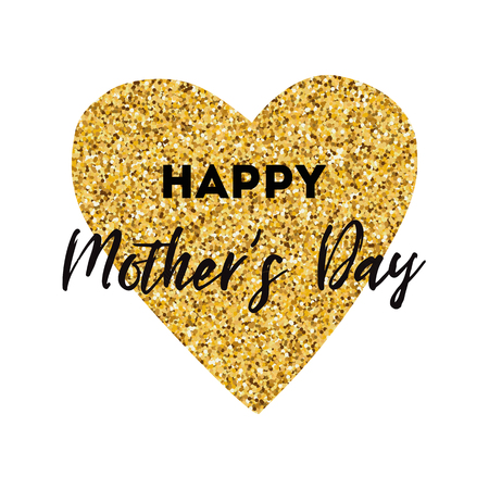 Happy Mothers Day vector greeting card. Golden heart. Text card banner print