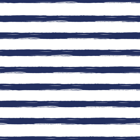 Seamless nautical pattern with hand painted brush strokes, striped background.