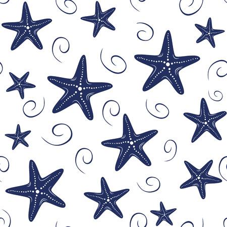 Motif de mer vectorielle continue avec des étoiles de mer dessinés à la main, vague, gouttes dans des couleurs bleu marine sur fond blanc