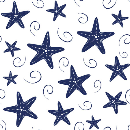 Seamless vector sea pattern with hand drawn sea stars, wave, drops in navy colors on white background