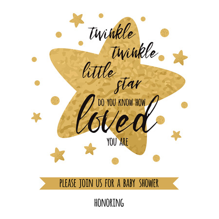 Twinkle twinkle little star text with golden oranment and gold star for girl boy baby shower card template