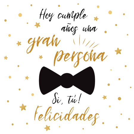 Happy birthday greeting card. Mans accessories decoration for banner template. Black bow tie butterfly. Text en spanish
