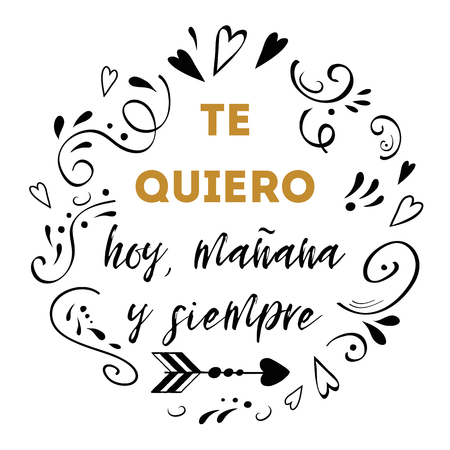 I love you today, tomorrow and forever in Spanish language  on hand drawn heart elements frame border. Illustration