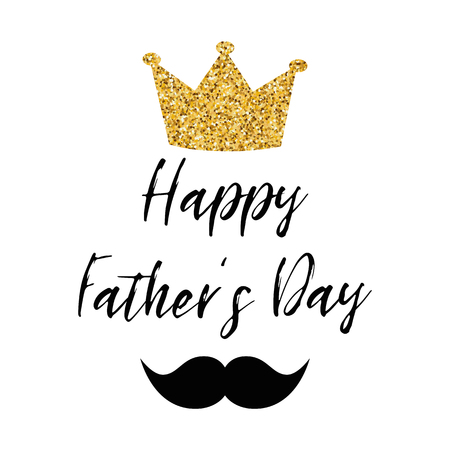Fathers day banner design with lettering, golden crown black moustache Gentleman style template card poster logo