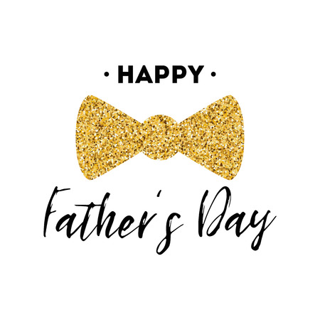 Fathers day card design with lettering, golden bow tie butterfly. Gentleman style template banner poster logo