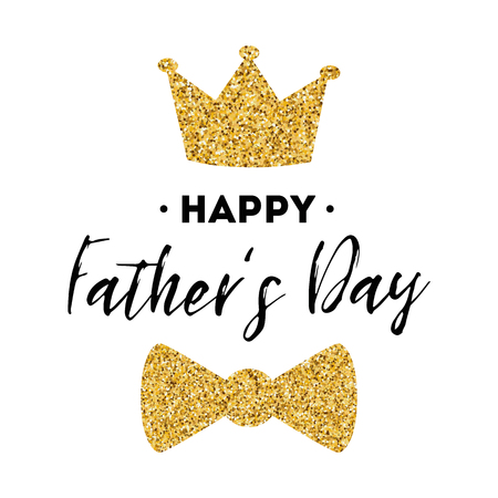 Fathers day banner design with lettering, golden bow tie butterfly gold crown. Gentleman style template card poster logo
