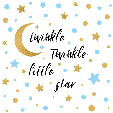 Twinkle twinkle little star text with gold and blue star and moon Vectores