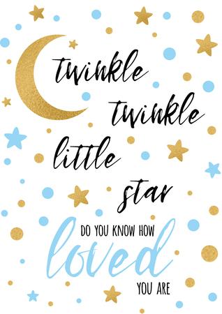 Twinkle twinkle little star-tekst met gouden ornament en blauwe ster