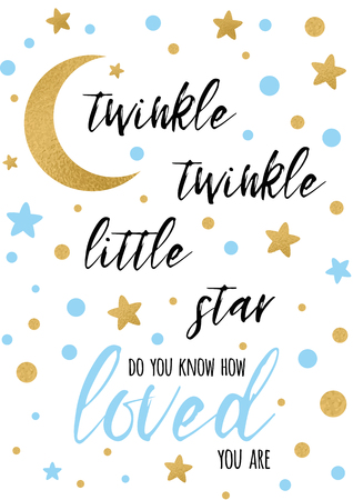 Twinkle twinkle little star text with golden ornament and blue star Stockfoto - 98545499