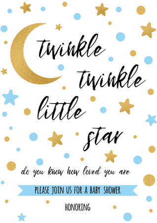 Twinkle twinkle little star text with golden ornament and blue star