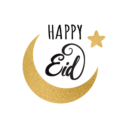 Crescent moon with golden stars and Happy Eid lettering