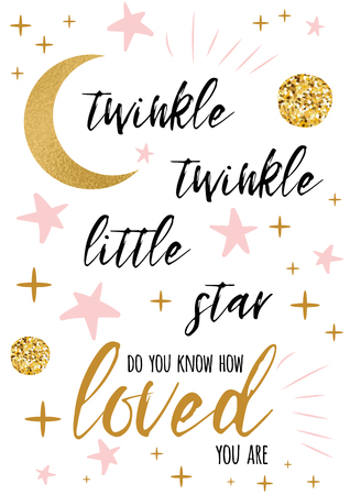 Twinkle twinkle little star text con adorno de oro y estrella rosa para plantilla de diseño de fondo de tarjeta de baby shower de niña