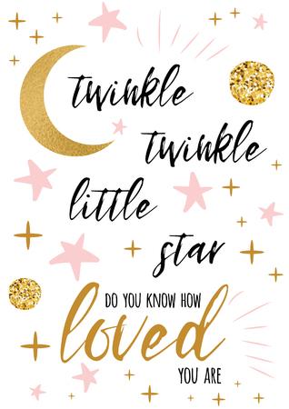 Twinkle twinkle petit texte d'étoile avec ornement d'or et étoile rose pour modèle de conception de fond de carte de douche de bébé fille