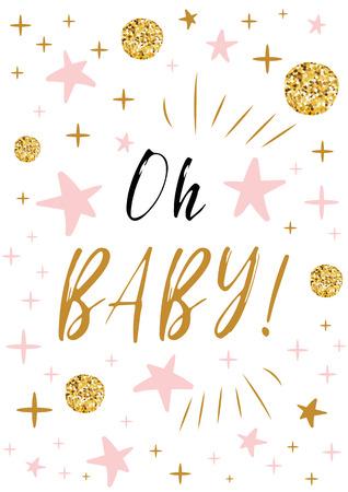 Oh texto de bebé con bolas de oro y estrella rosa para plantilla de diseño de fondo de tarjeta de invitación de baby shower de niña Ilustración de vector