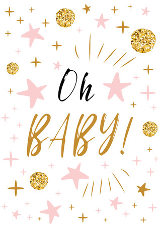 Oh baby text with gold balls and pink star for girl baby shower invitation card background design template.