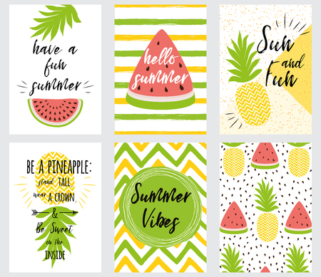 Set of bright summer banner summer quotes fresh fruit vector illustration.