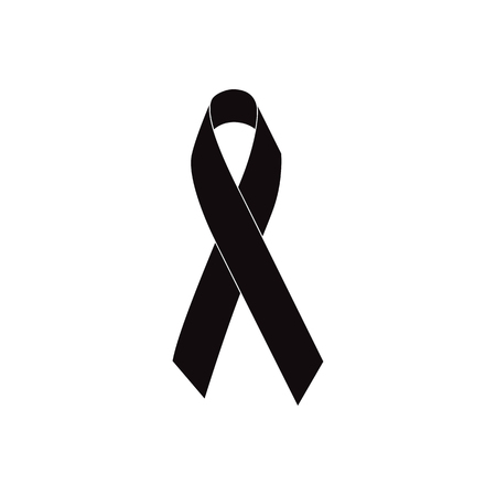 Mourning ribbon, Black awareness ribbon isolated on white background vector illustration Vectores