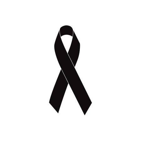Mourning ribbon, Black awareness ribbon isolated on white background vector illustration Vettoriali