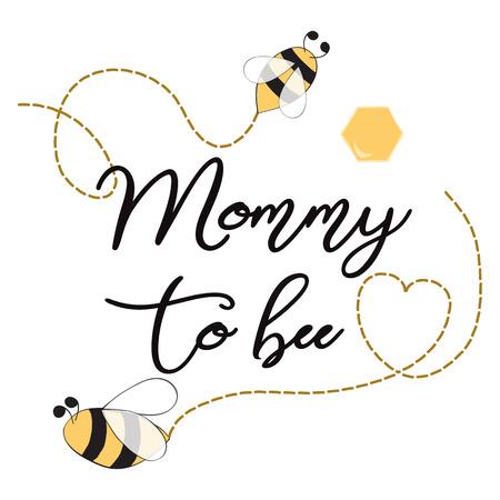 母の日ミツバチの心のためのビーかわいいカードデザインにテキストママとベビーシャワー招待テンプレート  イラスト・ベクター素材