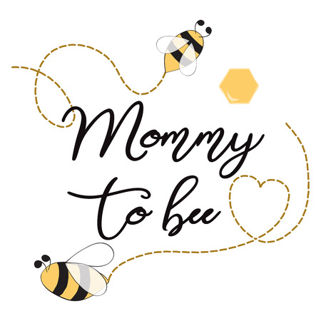 Baby shower invitation template with text Mommy to Bee Cute card design for Mothers day bees heart
