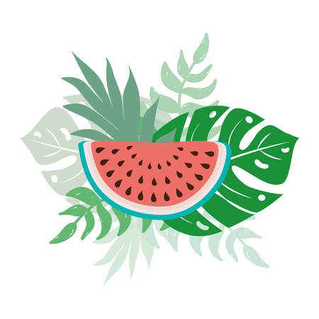 Summer print with watermelon, monstera tropical leaves cocktail text cute hand drawn banner Illustration