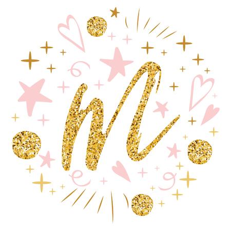 母の日のグリーティングカード。ロマンチックな手描きの装飾品。白い装飾金ピンク色の黄金文字M バナー、招待状、シンボル、おめでとベクトルイ  イラスト・ベクター素材