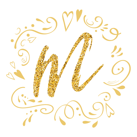 Mothers Day greeting card. Romantic hand drawn ornament. Golden letter M on white decorated gold colors