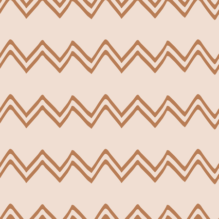 Geometric Seamless zigzag pattern made on brown iced coffee colors. Repeated background, backdrop or invitation card abstract design. Hand drawn wallpaper, package design, coffe wrap Çizim