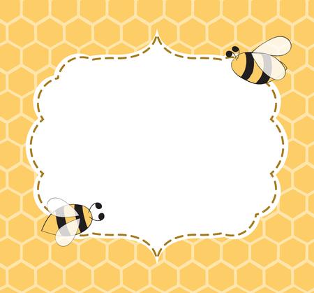 Vector Illustration eines natürlichen Hintergrundes mit Bienenwaben, Bienen, der Hand gezeichnete Rahmen, der in den gelben Farben in der netten Weinleseart mit Platz für Text gemacht wird Vektorgrafik