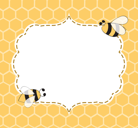 Vector Illustration of a Natural Background with Honeycombs, Bees, hand drawn frame made in yellow colorsin cute vintage style with place for text Banque d'images
