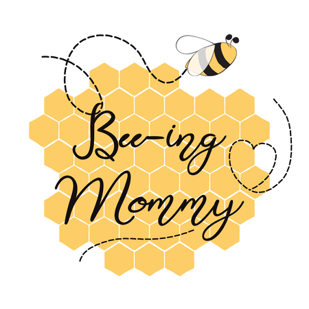Text Bee-ing Mommy decorated hearts, honey bees Sweet card template for Mothers day, party, baby shower, birthday party on yellow honeycomb background Vector illustration. Banner print sign symbol