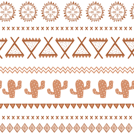Vector tribal ethnic seamless pattern in coffee brown color. Aztec abstract background. Mexican ornament texture Native american traditional design Folk geometric print for wallpaper wrap, cover cloth