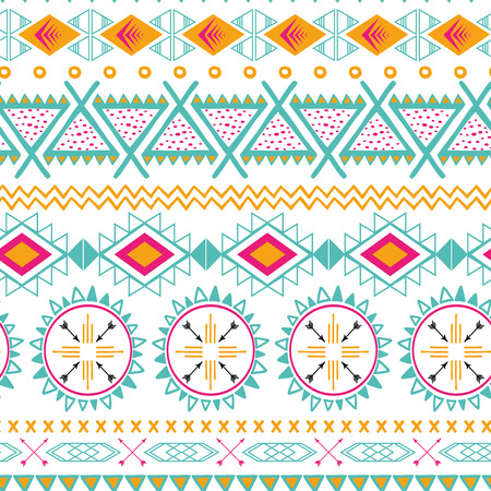 Vector tribal ethnic seamless pattern. Aztec abstract background. Mexican ornament texture in bright pink orange colors  イラスト・ベクター素材