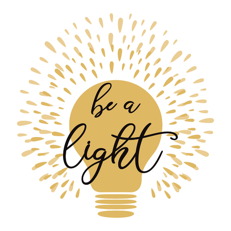 Vector light bulb lamp symbol concept of idea yellow golden colors Text Be a light Stock Illustratie