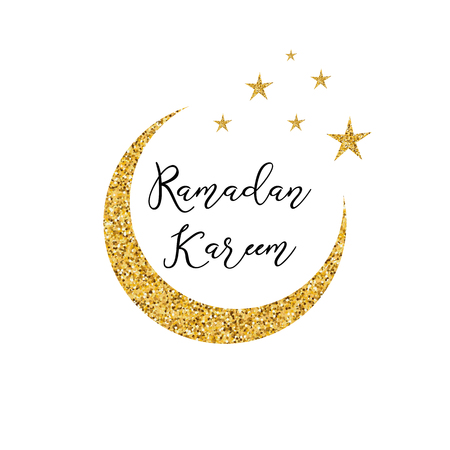 Crescent bright golden moon for Holy Month of Muslim Community, phrase Ramadan Kareem gold stars banner