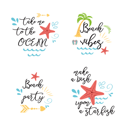 Set of summer vacation sea posters prints banners cards with inspirational quotes in vector Sea star ocean palm Çizim