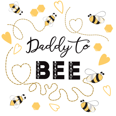 Fathers day banner design with text Daddy to bee decorated trace bee hearts love ornament card poster