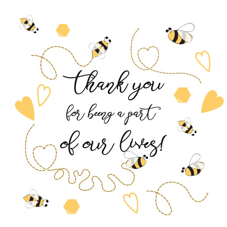 Text Thank you for being a part of our leaves sweet with bee, honey. Cute card design Adorable Bumble Bee Birthday Party